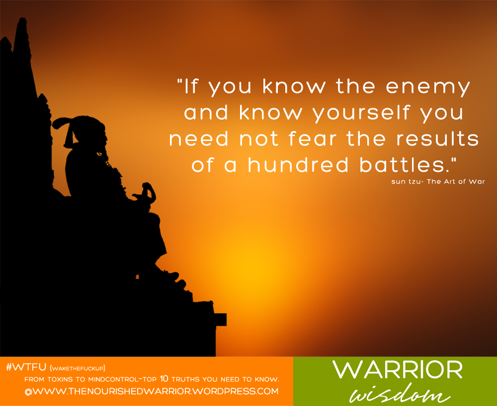 """If you know the enemy and know yourself you need not fear the results of a hundred battles."" sun tzu- The Art of War"